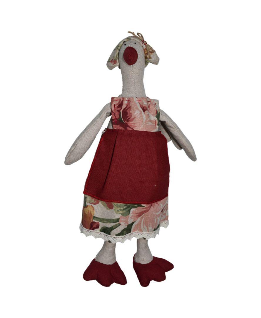 Интерьерная игрушка Гусыня Глория в платье розы