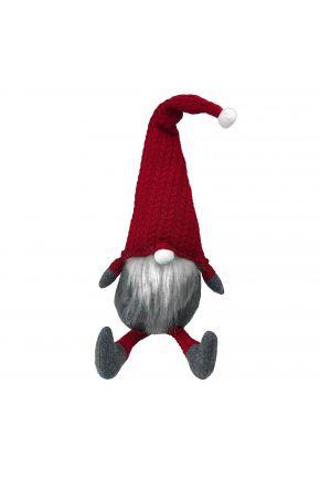 Декоративная игрушка Гном-стоппер в красном колпаке с ножками 65 см