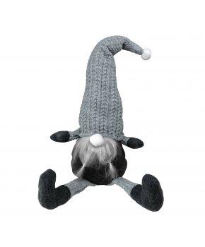 Декоративная игрушка Гном-стоппер в серебряном колпаке с ножками 65 см