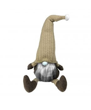 Декоративная игрушка Гном-стоппер в золотом колпаке с ножками 65 см