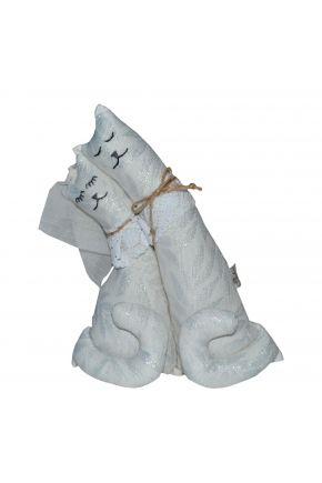 Интерьерная игрушка Коты неразлучники Белое серебро