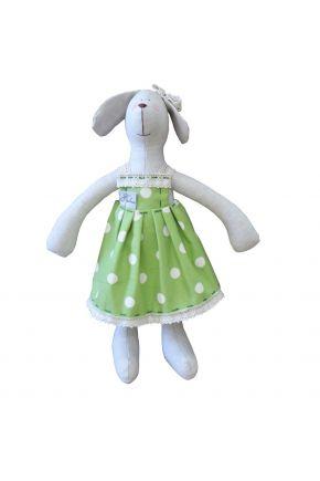 Интерьерная игрушка собака девочка в зеленом платье