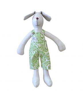 Интерьерная игрушка собака мальчик в зеленом костюме