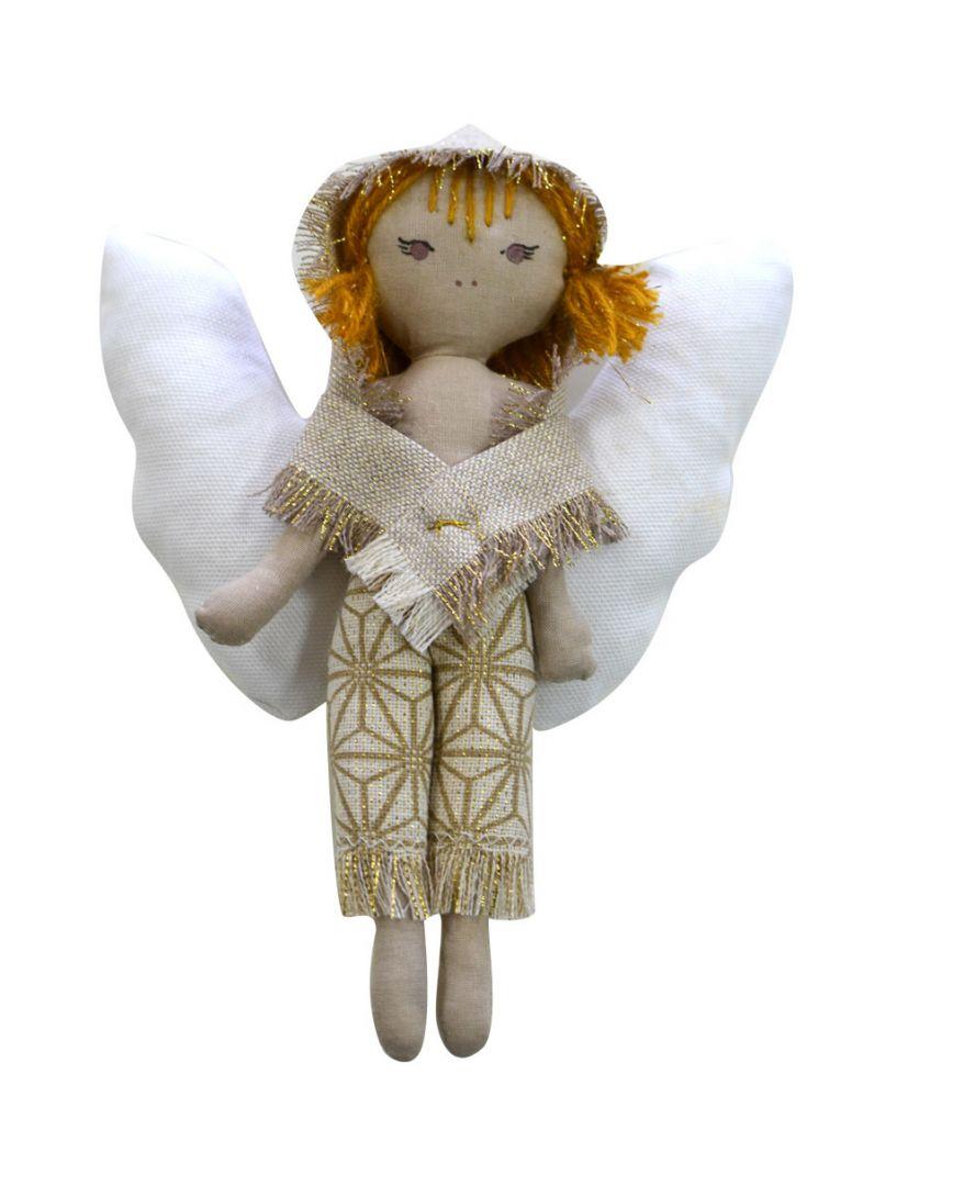 Интерьерная кукла ангел-мальчик золото