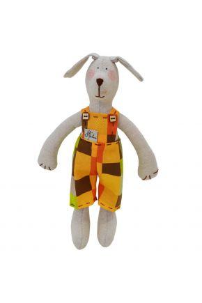 Интерьерная игрушка собака в костюме в клеточку