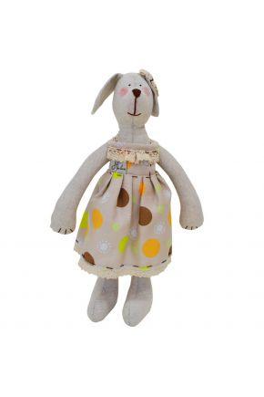 Интерьерная игрушка собачка в платье в горох