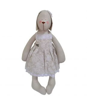 Интерьерная игрушка собака в платье White Rose большая