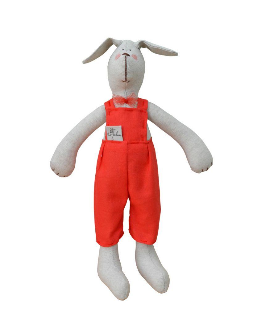 Интерьерная игрушка собака в красном костюме
