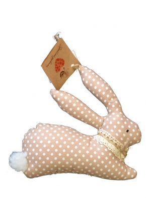 Интерьерная игрушка зайка коричневый горох