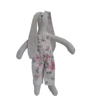 Интерьерная игрушка зайка в комбинезоне Bella Розы