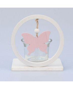 Декоративный подсвечник с бабочкой розовой