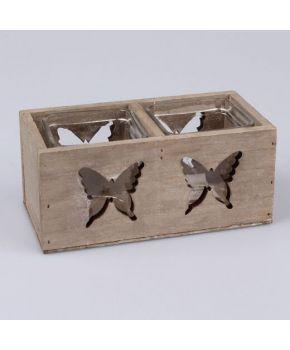 Подсвечник бабочки двойной дерево