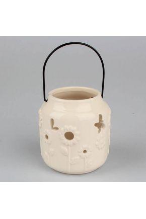 Подсвечник керамический молочный