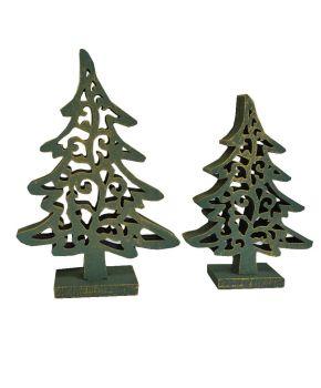 Деревянный декор Елка ажурная зеленая