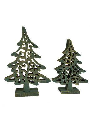 Деревянный декор Елка винтаж зеленая