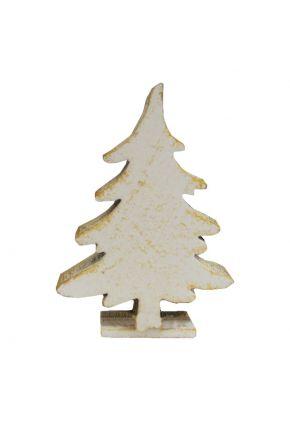 Деревянный декор Елка белая на подставке