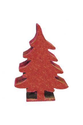 Деревянный декор Елка красная на подставке
