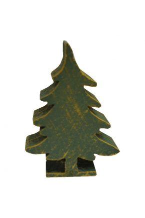Деревянный декор Елка зеленая на подставке