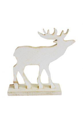 Деревянная игрушка Олень на подставке белый
