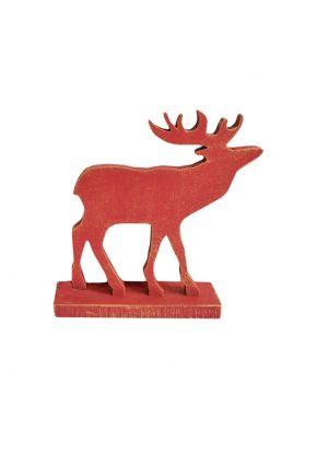 Деревянная игрушка Олень на подставке красный