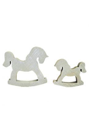 Деревянный декор лошадка-качалка белая 100 мм