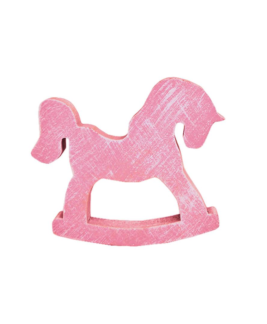 Декор из дерева лошадка-качалка розовая 100 мм