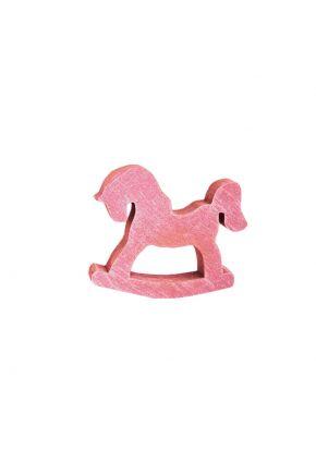 Декор из дерева лошадка-качалка розовая 70 мм