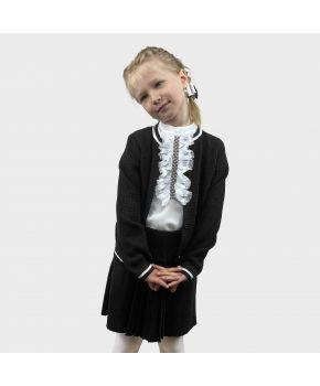 Детский костюм кофта и юбка Герда Черный с белым
