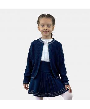 Детский костюм кофта и юбка Герда Синяя с люрексом