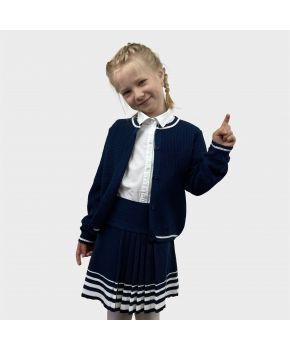 Детский костюм кофта и юбка Герда Синяя с белым