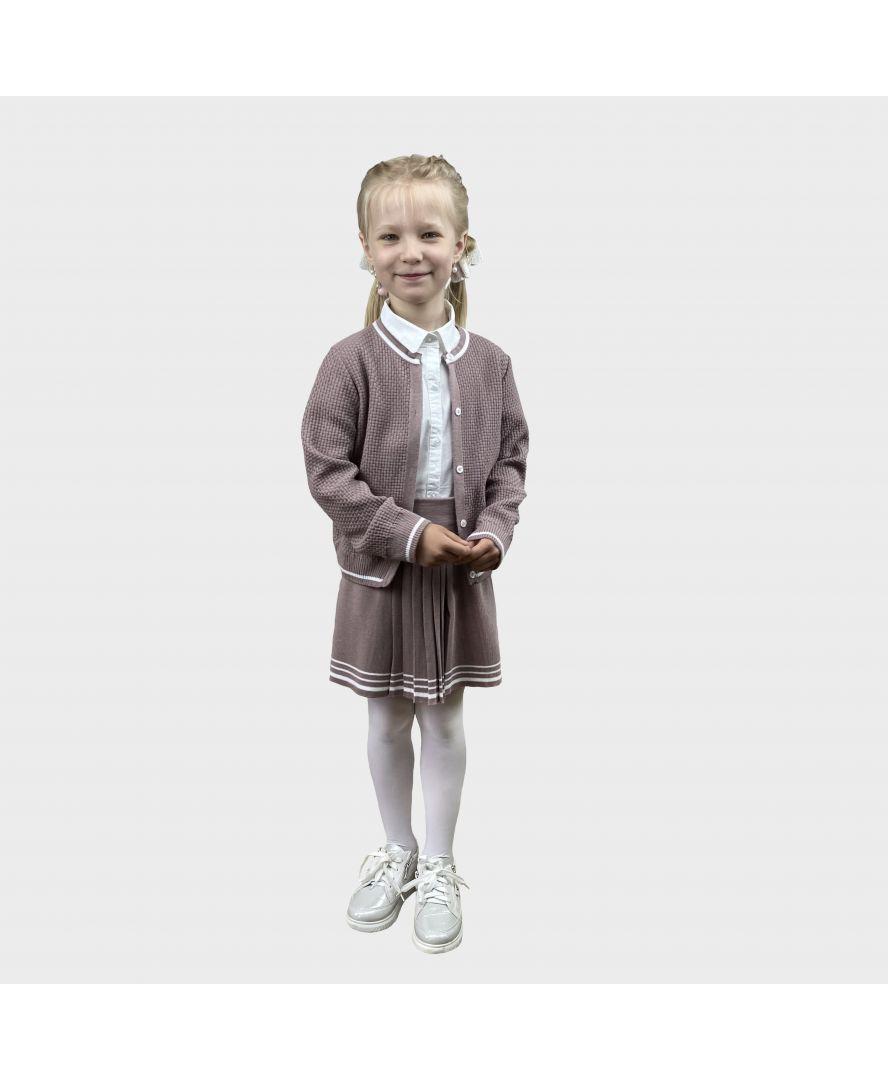 Детский костюм кофта и юбка Герда Пепел розы с люрексом