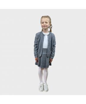 Детский костюм кофта и юбка Герда Серый меланж с люрексом