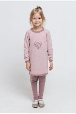 Детский костюм платье-туника и леггинсы Сердце розовое