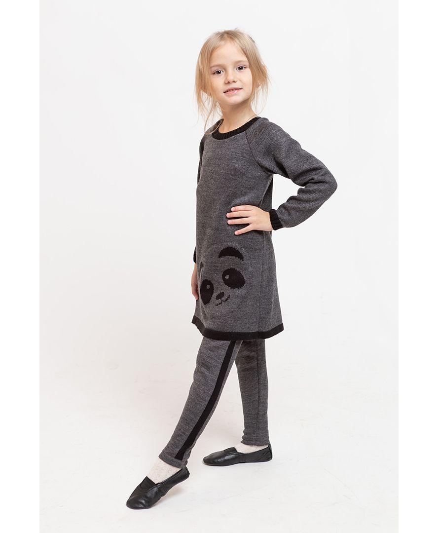 Костюм детский платье-туника и леггинсы Панда серая