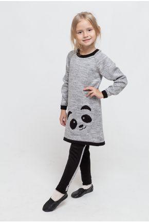 Костюм детский платье-туника и леггинсы Панда светло-серая