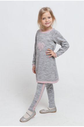 Костюм детский платье-туника и леггинсы Сердце серое