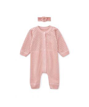 Комбинезон ажурный для младенцев Розовый и повязка на голову