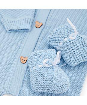 Набор для младенцев Голубой 3 единицы (плед, человечек, пинетки)