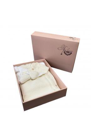 Набор для младенцев Молочный 3 единицы (плед, человечек, пинетки)