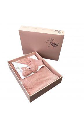 Набор для младенцев Розовый 3 единицы (плед, человечек, пинетки)