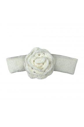Вязаная повязка на голову для младенцев Белая