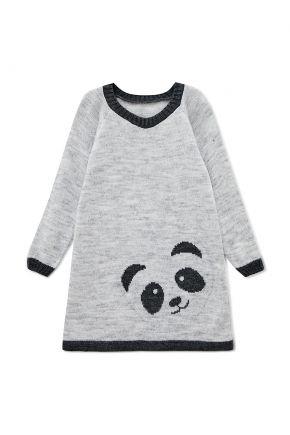 Детское платье-туника Панда светло-серая
