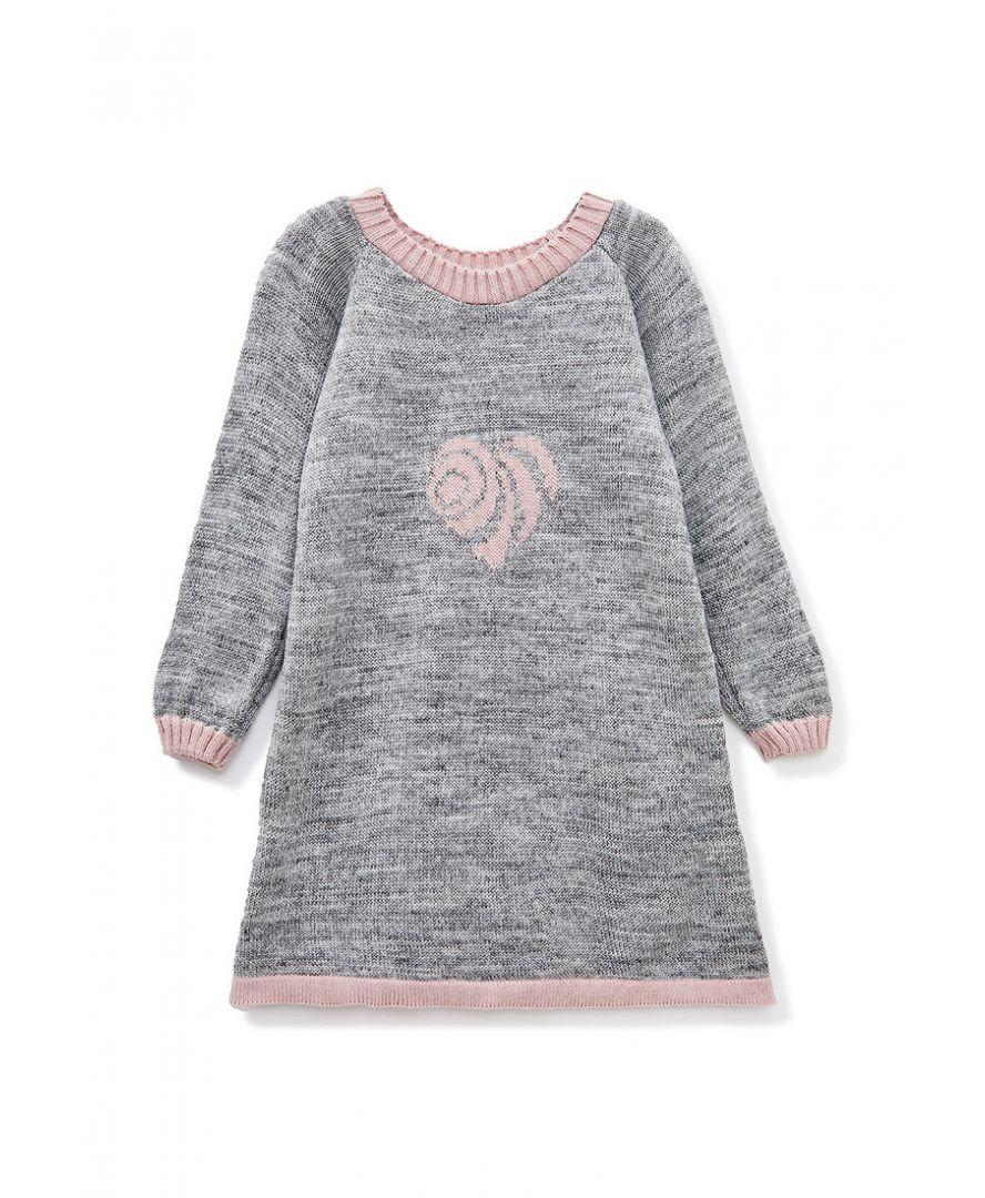 Детское платье-туника Сердце серое