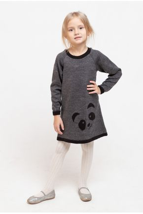 Детское платье-туника Панда графит