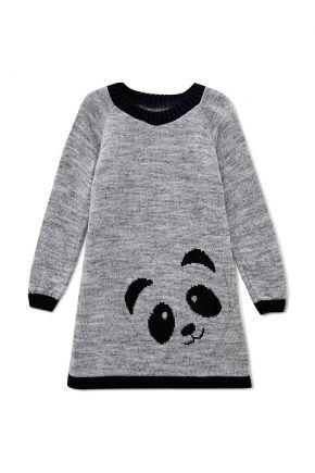 Детское платье-туника Панда серая