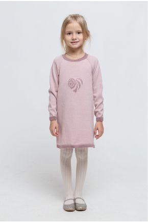 Детское платье-туника Сердце розовое