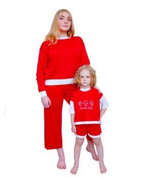 Костюм для мамы и дочки Family look красный