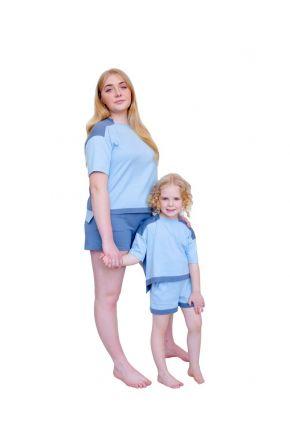 Костюм для мамы и дочки Family look серый