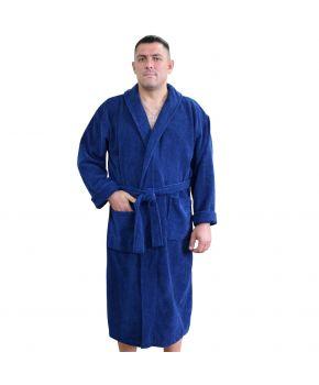 Халат махровый мужской синий