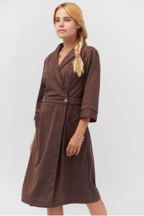 Халат трикотажний с рукавом Прованс by Vona темно-коричневый